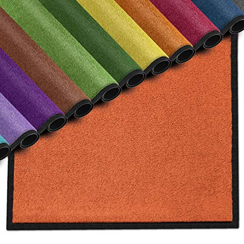 casa pura Premium Fußmatte für Innenbereich | Schmutzfangmatte als Fußabtreter | mit Brandschutzklasse B1 | in vielen Farben und Größen (Orange B14-50x80 cm)