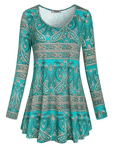 Swing Tunika Top, Hibelle Damen Mode Kleidung Rundhals Langarm Flare Hem Designer Country Style Baggy T-Shirt Nice Loose Fit Bluse Grün XL (Designer-tunika Damen)