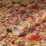 Geschenkpapier Frühlingsblumen, Kraftpapier, glatt, 60 g/m², Geburtstagspapier, Mohn-Blumen, Frühling, Vintage Stil - 1 Rolle 0,7 x 10 m