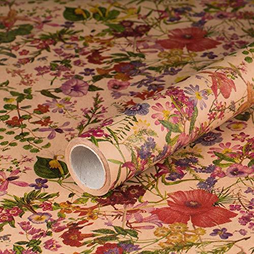 lingsblumen, Kraftpapier, glatt, 60 g/m², Geburtstagspapier, Mohn-Blumen, Frühling, Vintage Stil - 1 Rolle 0,7 x 10 m ()