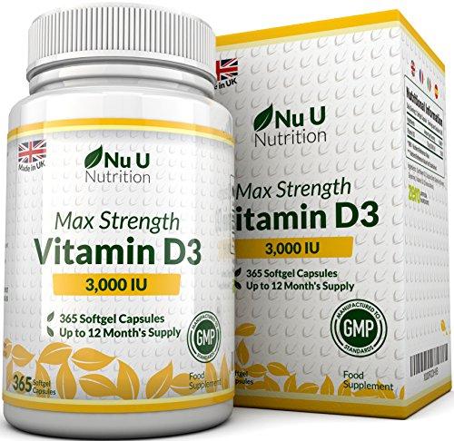 Vitamina D3 3000 UI 365 Cápsulas Blandas...