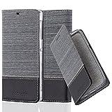 Cadorabo Hülle für Sony Xperia Z1 - Hülle in GRAU SCHWARZ – Handyhülle mit Standfunktion und Kartenfach im Stoff Design - Case Cover Schutzhülle Etui Tasche Book