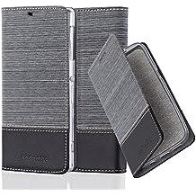 Cadorabo - Funda Estilo Book para Sony Xperia Z1 de Diseño Tela / Cuero Arificial con Tarjetero, Función de Suporte y Cierre Magnético Invisible - Etui Case Cover Carcasa Caja Protección en GRIS-NEGRO