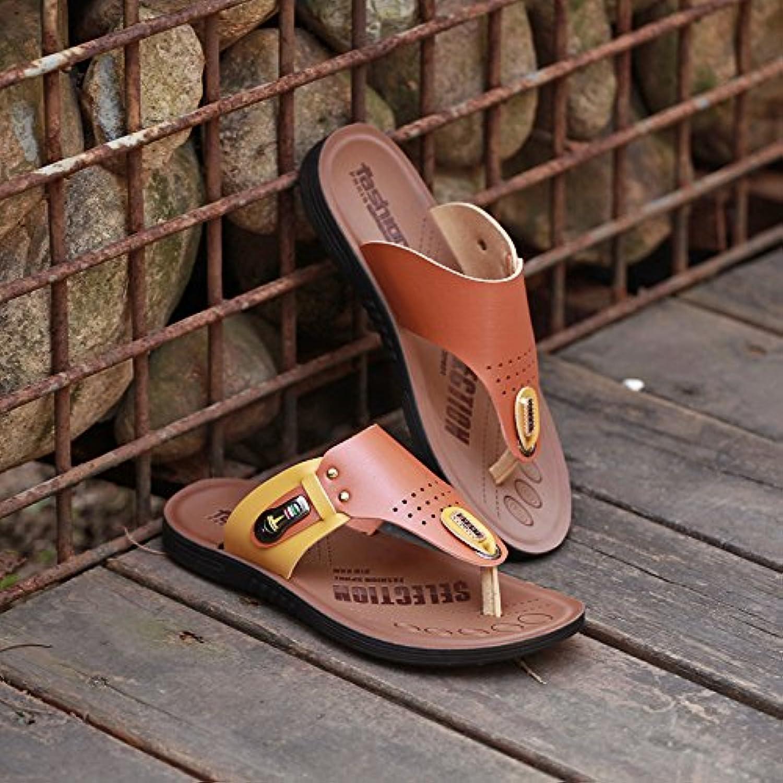 ZHANGJIA Men's Toe Antideslizante Sandalias, Chanclas De Playa, Zapatos, Zapatillas De Corea,39,Brown 8891