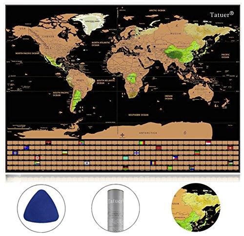 Reisen Weltkarte ,Tatuer Kunstdruck Weltkarte zum Rubbeln Poster + Flaggen Edition Klein Weltkarten für Kinder Reisefreund um Reisen zu verfolgen (59.5*42CM) (Scratch Art-tools)