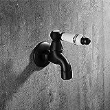 XLLQYY accessorio bagno nero rame pieno di Rame lavatrice rubinetto Schwarze Single fredda acqua ugello MOPP Pool Tap giardino rubinetto G1/2' 125x5,0/4,0x30mm Z=12 F