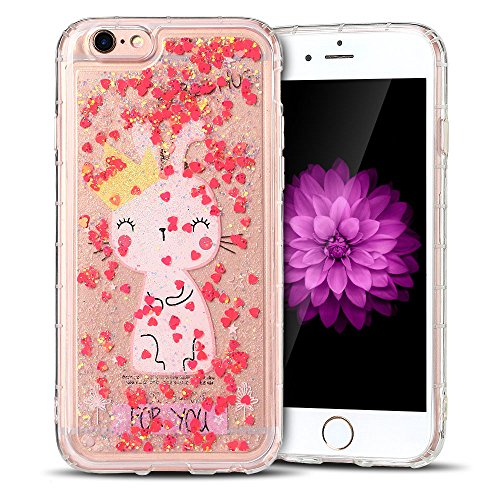 Cover iPhone 6 plus Custodia iPhone 6s plus Liquido Anfire Trasparente Rigida Duro Plastica Gel Case per Apple iPhone 6 plus/6s plus (5.5 Pollici) Morbida Silicone Sabbie Mobili Shell 3D Bling Glitter Red
