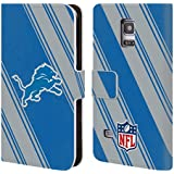 Official NFL Stripes 2017/18 Detroit Lions Leather Book Wallet Case Cover For Samsung Galaxy S5 mini