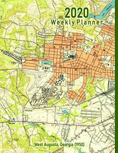 2020 Weekly Planner: West Augusta, Georgia (1950): Vintage Topo Map Cover -