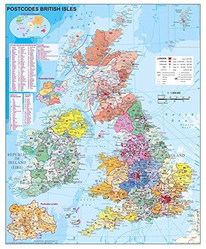 Postleitzahlenkarte Großbritannien Postleitzahlen (engl.), 97 x 119 cm mit Metallleiste