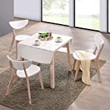 lounge-zone Mesa de comedor Mesa plegable Mesa comedor Mesa de cocina mesa SALITA Placa de mesa blanco Piernas natural 75x75/120cm 13625