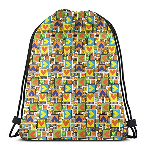 849fd52e041f BBABYY Printed Drawstring Backpacks Bags,Valentines Day Themed Symbols of  Love In Colorful Frames Romantic Illustration,Adjustable String Closure