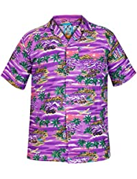 True Face de Hombre para Senderismo Summer Palo de Golf para niños con  Motivos Hawaianos de Manga Corta S Camisas de Funda Playa… b95735e7dd053