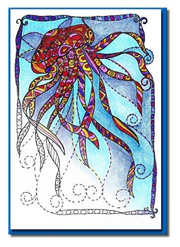 Art Eclectic Grußkarte für Erwachsene zum Ausmalen   Ideal für Geburtstage und Danke Notizen   12 Einzigartige Designs zum Ausmalen und Versenden   inkl. Umschläge   Set Under The Sea(Blue) (Sympathie-karten Für Danke Die)