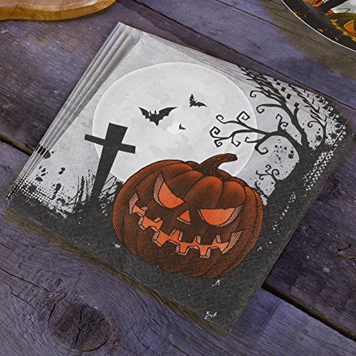 Premium Weddings Scary Halloween Papierserviette 20 St. - Grusel Kürbis Halloween Party Serviette (Scary Halloween Flaschenetiketten)