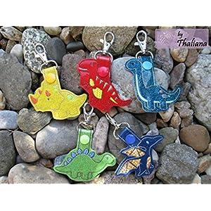 5er Set Schlüsselanhänger Dinos Dinosaurier Anhänger für Kindergartentasche Schulranzen Schultüte