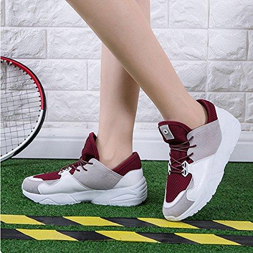Chaussure de mulitsport femme d'air sneakers courant skateboard plat jogging Rouge