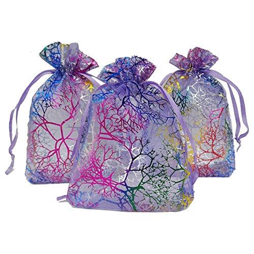 Ankirol 100 Stück Organza-Geschenkbeutel für Hochzeiten, Babyparty, Rattan-Druck, Geschenktüten, Samples Display Kordelzug Beutel, Organza, Coral Purple, 3.5x4.5 -