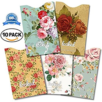 Credit Card Protector - Premium QUALITY RFID Sleeves DESIGNER Vintage Floral (10 RFID Blocking Sleeves, 5 Unique Designs). Keeping You Safe in Style From Credit Card Fraud 100% MONEY BACK GUARANTEE