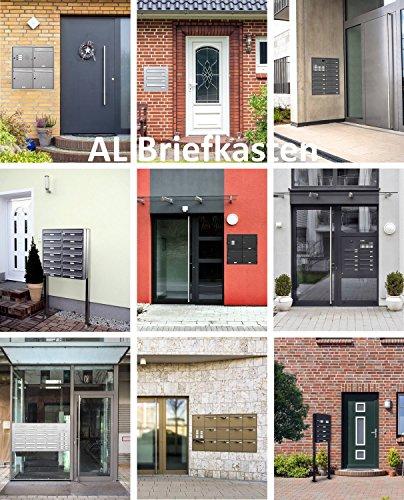 AL Briefkastensysteme 3 er Briefkastenanlage in V2A Edelstahl, Premium Briefkasten DIN A4, 3 Fach Postkasten modern Aufputz - 6