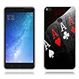 """FUBAODA, Fundas Xiaomi Mi MAX 2 Carcasas Protección Gona, Protector de Silicona TPU Transparente y Fino, Póker de As, [[Antipolvo] Funda para Xiaomi Mi MAX 2 (6.44"""")"""