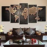 OMGO Tableau Décoration Mural Peinture à l'huile Impression Sur Toile Art Moderne 5 Pièces Carte du Monde Vintage
