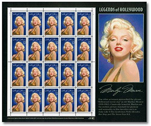 Marilyn Monroe   Kleinbogen  postfrisch  USA   Legends of Hollywood   US-Post   20 Briefmarken  bekannteste Frau des 20. Jahrhunderts   Sängerin   Fotomodell