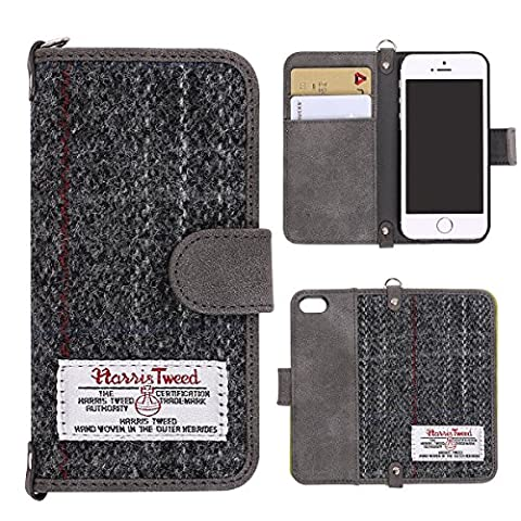 iPhone se Housses iPhone 5s étuis MONOJOY® iPhone se/5/5s étui portefeuille Couverture rétro harris tweed (Messenger Folio)