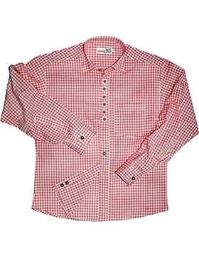 GermanWear, Trachtenhemd mit Edelweiß-Stickerei blau/rot karo 100% Baumwolle