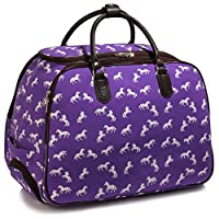 Luggage Ladies Travel Holdall Bags Hand Luggage Womens Polka Dot Weekend Wheeled Trolley Handbag Hand Luggage Trendstar (ZZ - Purple)