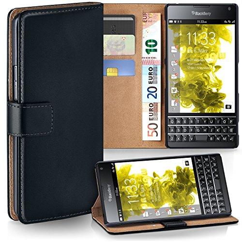 BlackBerry Passport Hülle Schwarz mit Karten-Fach [OneFlow 360° Book Klapp-Hülle] Handytasche Kunst-Leder Handyhülle für BlackBerry Passport Case Flip Cover Schutzhülle Tasche