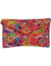 Shubhangi Women's Sling Bag (Jaipuri Embridered Handicraft Traditional Sling Bag,Multi-Coloured, R32057 Red)