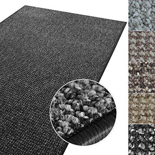 Kurzflor Teppich Carlton | Flachgewebe dezent gemustert | robuster Schlingenteppich in vielen Größen | als Wohnzimmerteppich, Küchenteppich, Schlafzimmerteppich (Anthrazit - 140x200 cm)