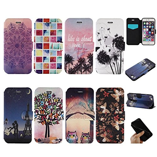 "For IPHONE 6 PLUS 5.5""[COLORFUL PU DDUD]Fashion Cute Magnetic Snap Wallet Card Flip Synthetic Holster Leather Stand With TPU Case Cover -DD03 DD02"