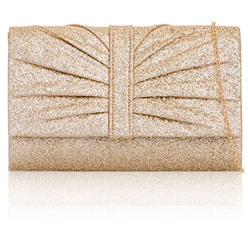 xardi London con Brillantini Donna Clutch Bags Medium sposa donna sera borsa di addio al nubilato Champagne