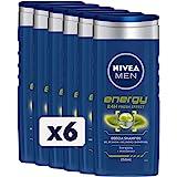 NIVEA MEN Energy Fresh Effect Doccia Shampoo in confezione da 6 x 250 ml, Bagnoschiuma uomo per corpo, viso e capelli, Shampo