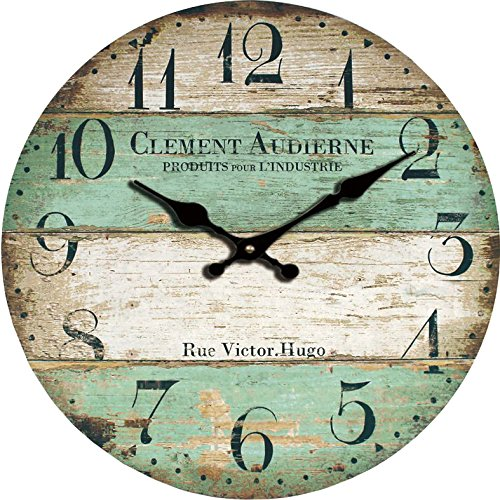 yung-jo-12-vintage-rustic-shabby-chic-style-green-stripes-arabic-numerals-design-wooden-round-decora