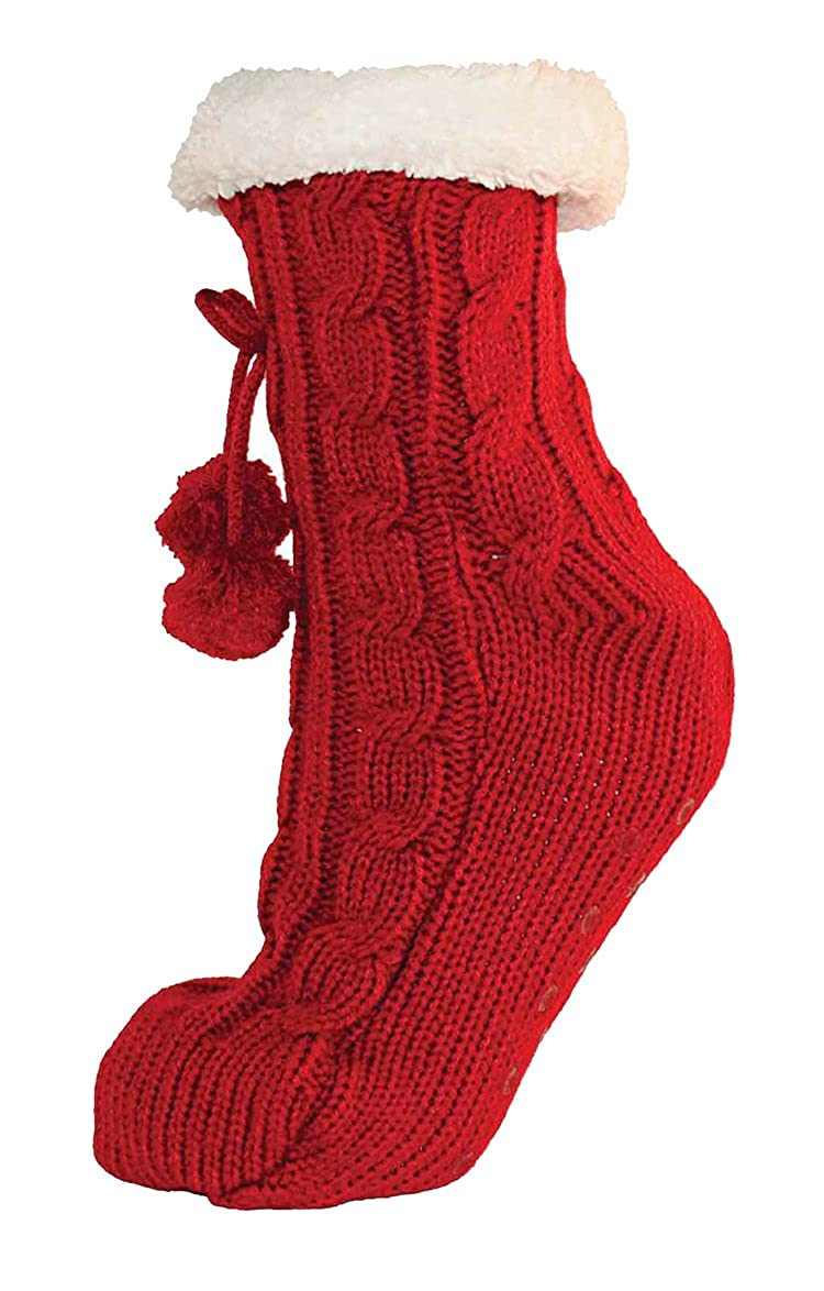 TOSKATOK/® Damen M/ädchen Fairisle Weihnachten Slipper Socken Stoppersocken mit Cosy weichem Fleecefutter