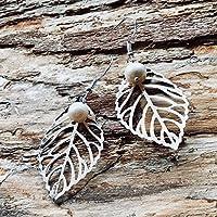 """Ohrringe """"NATURE HOPE"""" Ohrringe Silber 925 / Blatt / Süßwasserperle"""