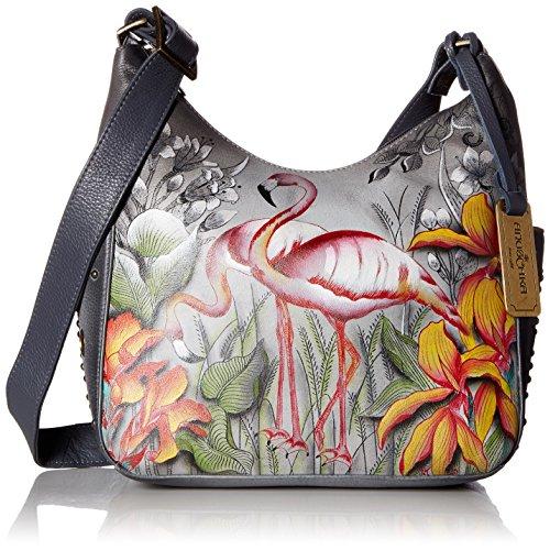 Anuschka handbemalte Ledertasche, Schultertasche für Damen, Handgefertigte Handtaschen für Frauen, Hobo Umhängetasche mit Seitentaschen (Flamboyant Flamingos 433 FFG) (Hobo Anuschka)