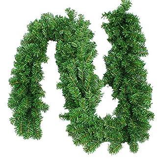 Snner Wired Artificial De Navidad Guirnalda del Pino Corbata De Imitación Pino Verde Tallos Garland Decorativo Precintos para Vacaciones Decoraciones De Temporada, 1pc
