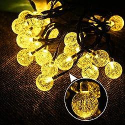 Fulighture Solar Garten Lichterkette,Solar Lichterkette Aussen,6.8 Meter Kugeln Lichterketten mit 30er Warmweiß, 8 Modi IP44 Wasserdicht Außerlichterkette für Garten,Bäume,Weihnachten,Partys Deko