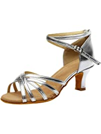 905c5eefa92d Tanzschuhe Damen Dtandard und Latein,Frau Silber Schwarz Dance Schuhe,Peep  Toe Salsa Tango