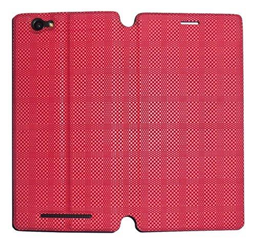 Mercator Diary Flip Cover for Xolo Era 4K - Check Red