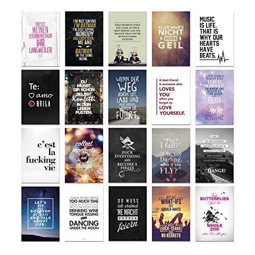 20er Postkarten Set MIXED 1 mit Sprüchen von VISUAL STATEMENTS® / Hochwertige Spruchkarten / 350g Bilderdruckkarton / 12 x 17,5 cm (XXL) / 20 verschiedene Motive / Set MIXED 1