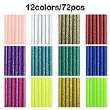 72 pièces Paillettes colorées colle chaude Gun Sticks, 12 couleurs, Afunta EVA Colle Mini Taille Hot Melt Bâtons de DIY Art Craft Liaison de réparation - Diamètre 7 mm/0,7 cm, longueur 10 cm/9,9 cm