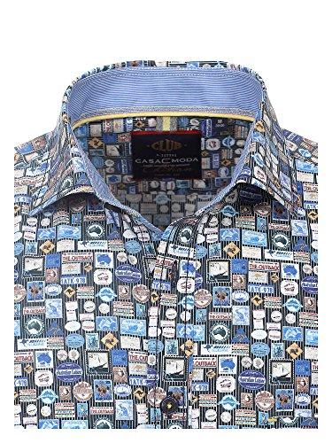 CASAMODA Herren Freizeithemd große Größen 100% Baumwolle - Casual Fit Blau