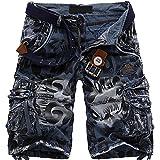 Mochoose Hombre Verano Camuflaje Casual Algodón Twill Cargo Shorts Multi Pockets Pantalones de Desgaste al Aire Llibre