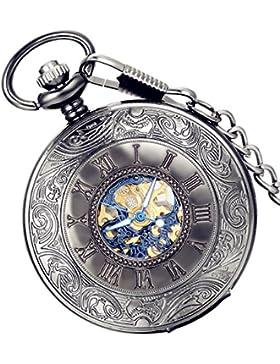 lancardo 2pcs Herren Klassisch Retro Handaufzug Mechanische Taschenuhr mit blau römische Ziffern Zifferblatt,...