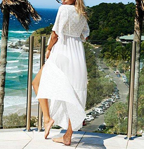 Himoya Womens Chiffon Kimono Cardigan Shirt Top Maxi Beach Cape Bikini Kleid Spitze Cover bis Badeanzug Weiß